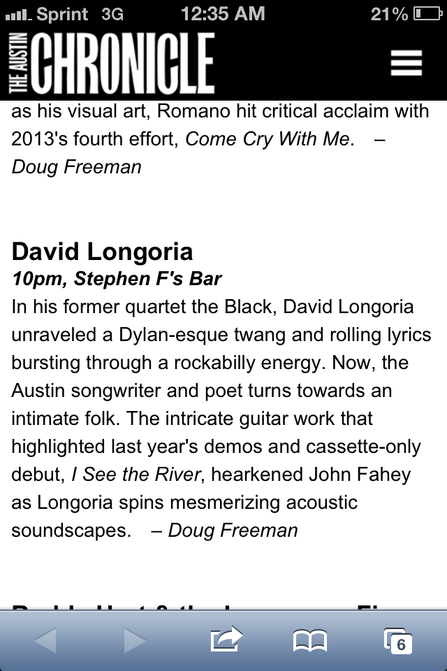 David Longoria is recommended by the Austin Chronicle